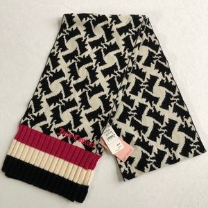 Juicy Couture Wool Scotty Dog Winter Scarf NEW